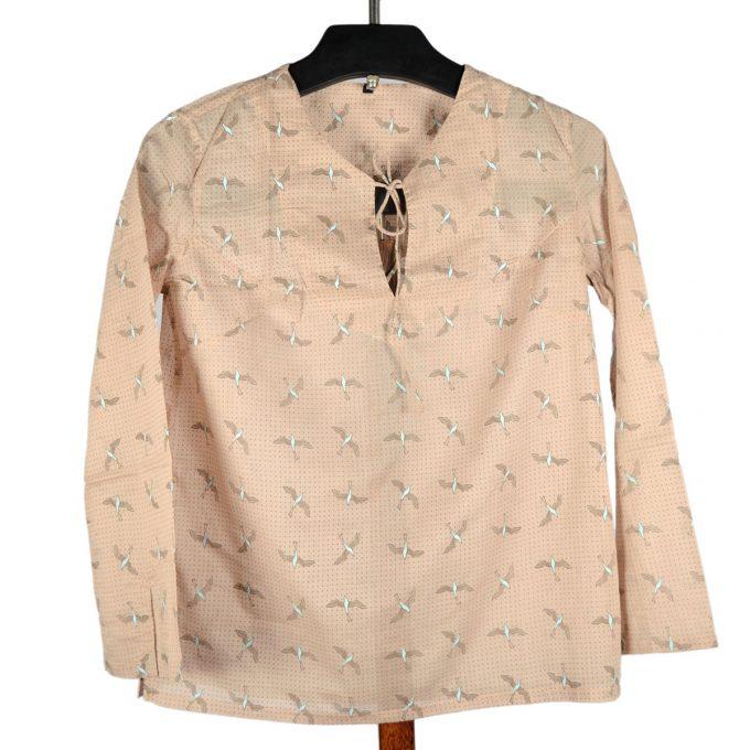 Tallentire House Pyjama Top Bird Chalk Blue