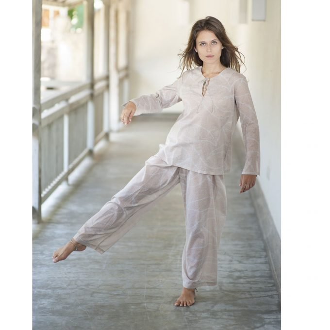 Tallentire House Pyjama Top Dots Dusty Pink Chalk Blue 3