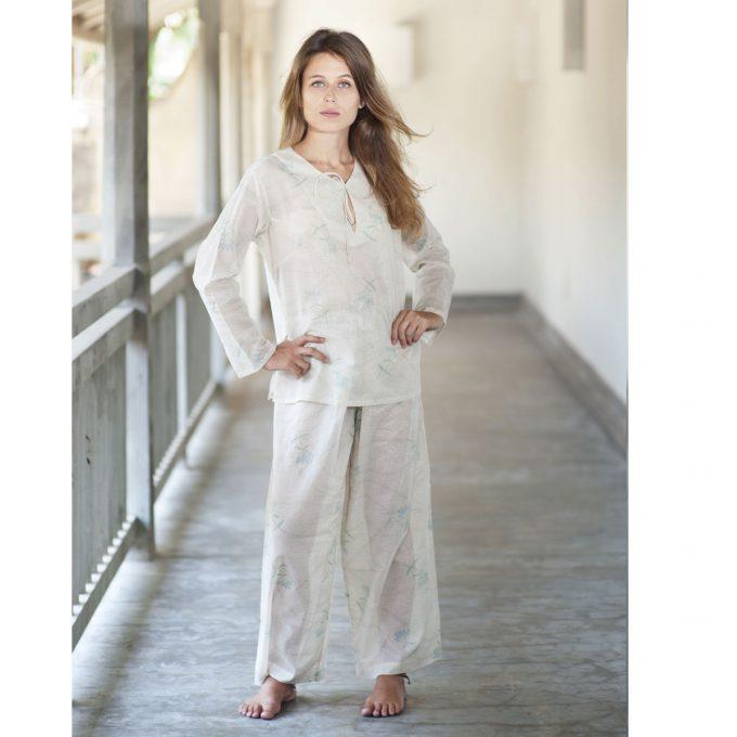 Tallentire House Pyjama Top Dotty Flower Moon Beam Lilac 2