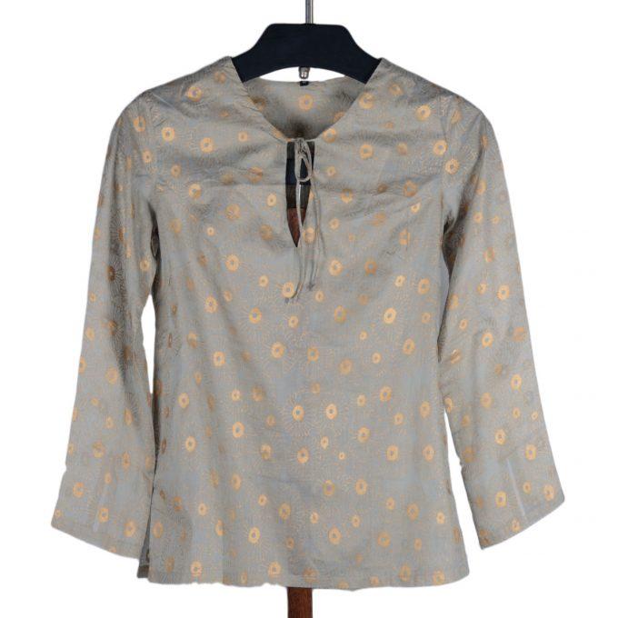Tallentire House Pyjama Top Korean Flower Sea Green Gold