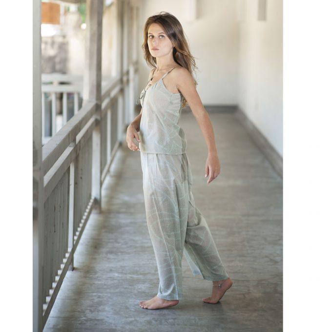 Tallentire House Pyjama Trousers Dots Sea Green Chalk Blue 2