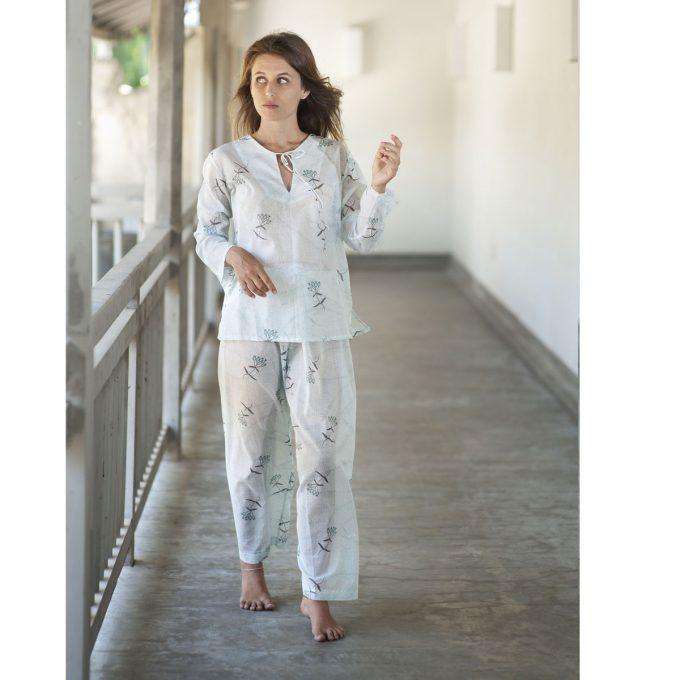 Tallentire House Pyjama Trousers Dotty Flower Blue Blush Turquoise 2