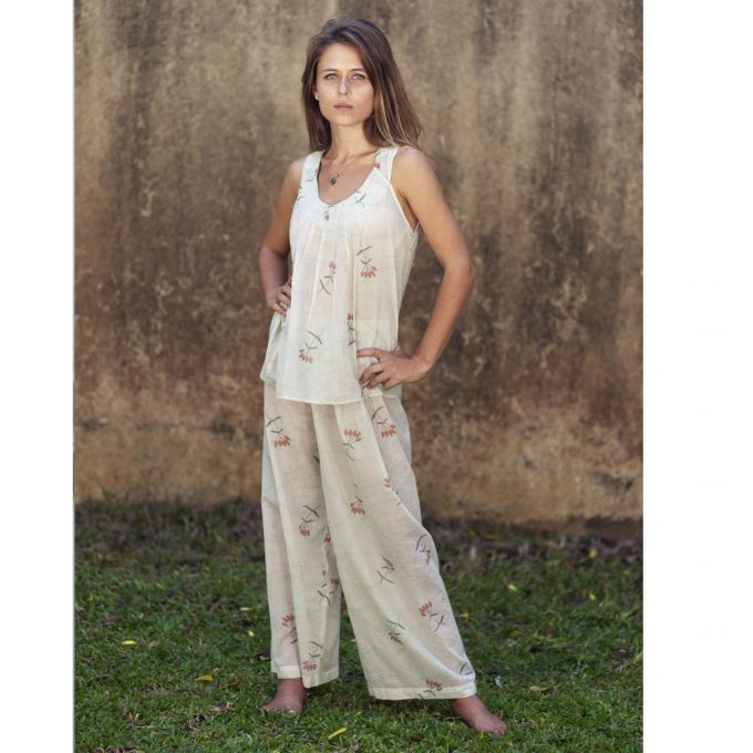 Tallentire House Pyjama Trousers Dotty Flower Moon Beam Coral 2