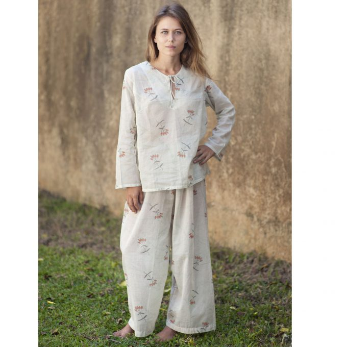 Tallentire House Pyjama Trousers Dotty Flower Moon Beam Coral