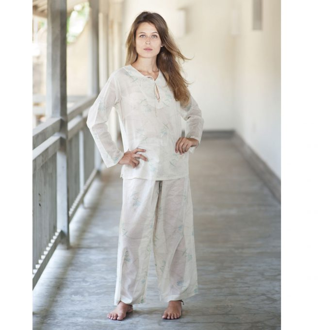 Tallentire House Pyjama Trousers Dotty Flower Moon Beam Lilac