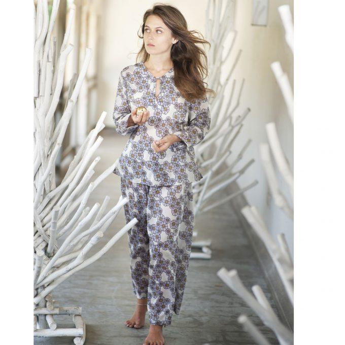 Tallentire House Pyjama Trousers Kapila Daisy Moon Beam Purple 3