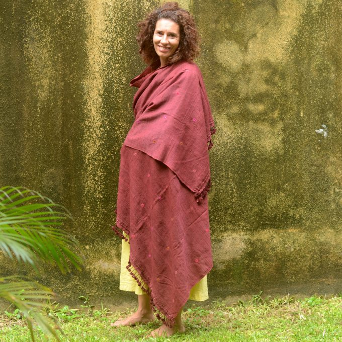 Tallentire House Shawl 4511 Mirrored Maroon Full Length