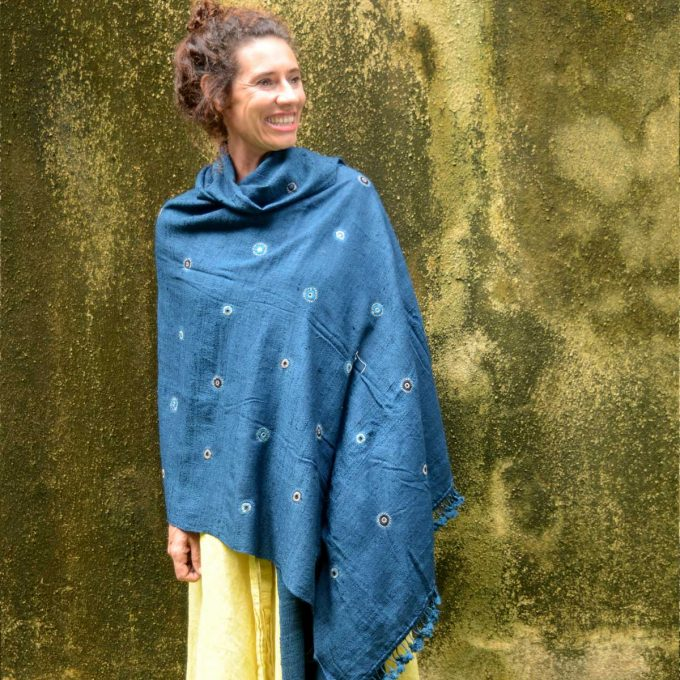 Tallentire House Shawl 4512 Star Mirrored Blue Full Length