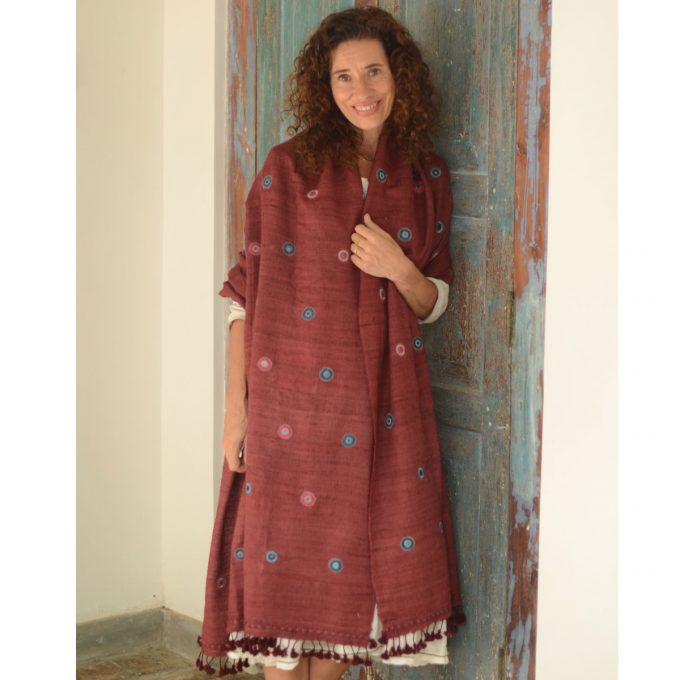 Tallentire House Shawl 4516 Star Mirrored Maroon Full Length