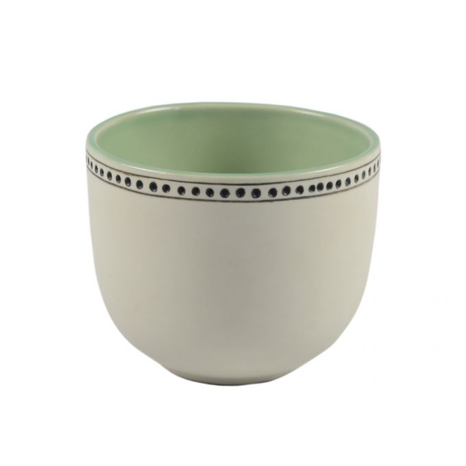 Tallentire House Tea Cup Horizontal Lines White Green