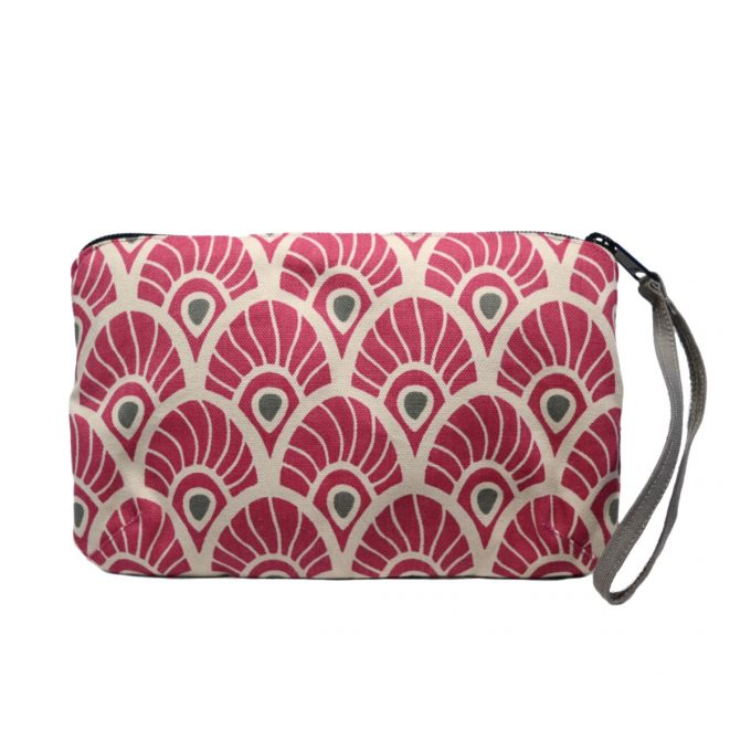 Tallentire House Travel Purse Feather Fuchsia Red